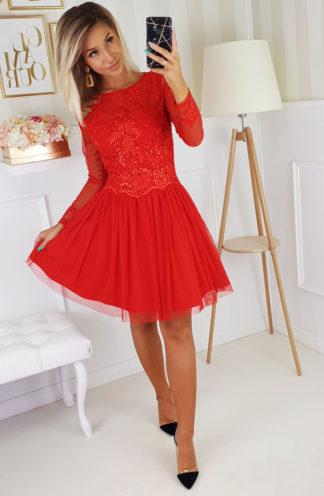 Rozkloszowana sukienka z tiulem i rękawami