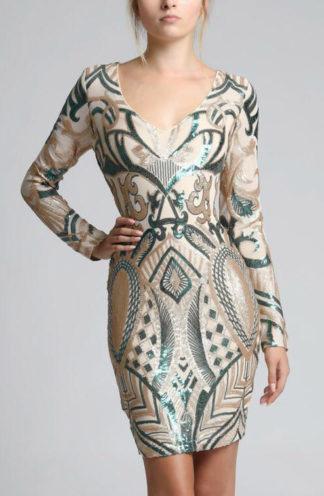Sukienka z błyszczącej tkaniny zielona