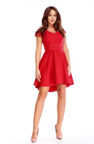 Koktajlowa sukienka z dłuższym tyłem czerwona