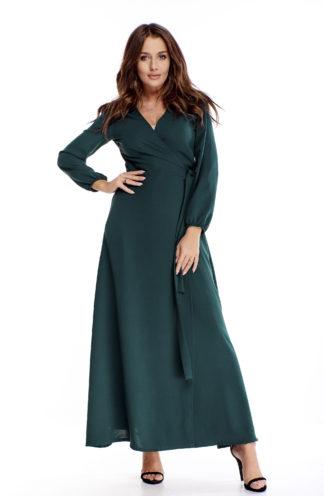 Długa sukienka z rękawami i wiązaniem