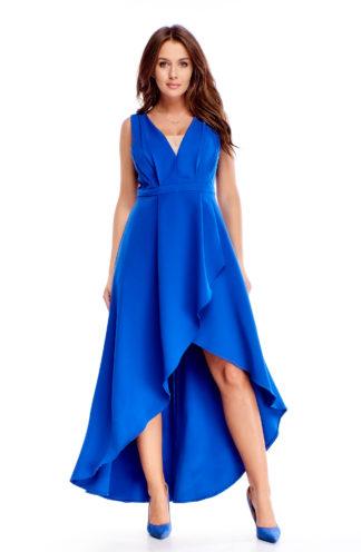Asymetryczna sukienka maxi chabrowa