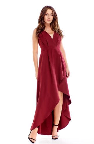 Asymetryczna sukienka maxi bordowa