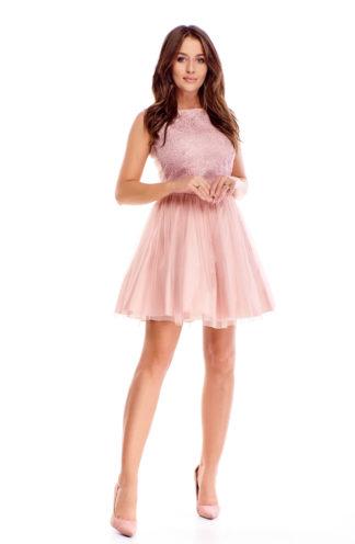 Rozkloszowana sukienka z haftowaną górą różowa