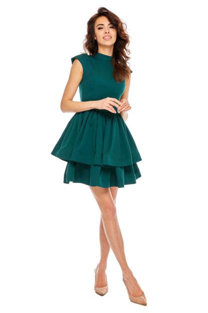 Rozkloszowana sukienka na stójce zieleń
