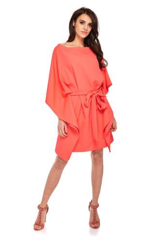 Sukienka nietoperz z wiązaniem koralowa