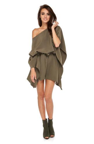 Sukienka nietoperz z wiązaniem khaki