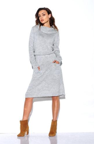 Sukienka swetrowa z golfem szara
