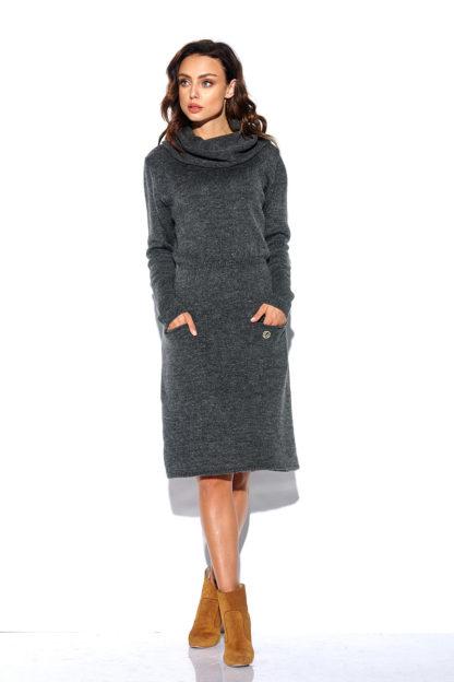 Sukienka swetrowa z golfem grafitowa