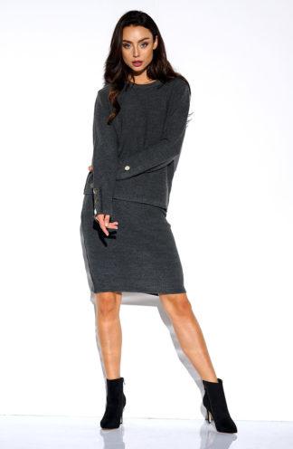 Sweterkowy komplet z rękawem grafit