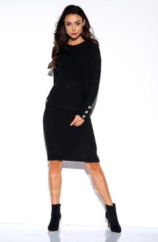 Sweterkowy komplet z rękawem czarny