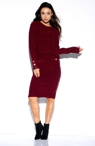 Sweterkowy komplet z rękawem bordowy