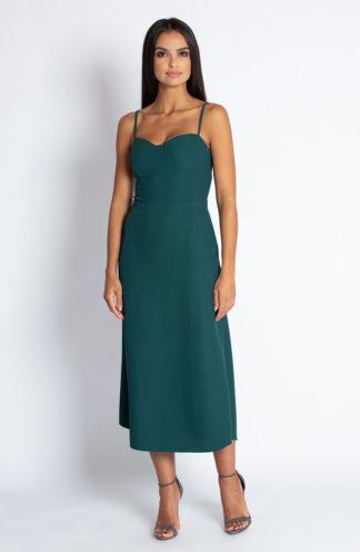 Sukienka midi na ramiączkach zielona