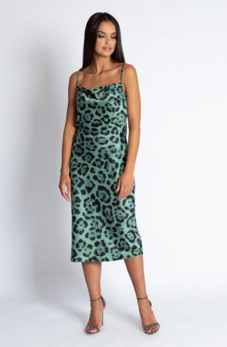 Sukienka midi w panterkę niebieska