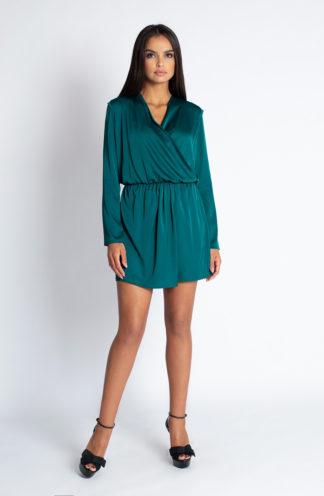 Sukienka z kopertowym dekoltem i gumką zielona