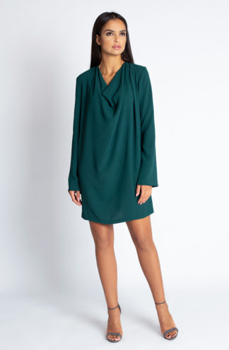 Sukienka z luźnym dekoltem zielona