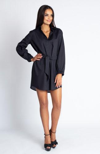 Koszulowa sukienka z wiązaniem czarna