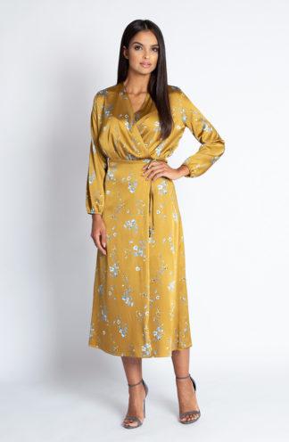 Sukienka midi z kopertowym dekoltem żółta