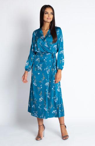 Sukienka midi z kopertowym dekoltem niebieska
