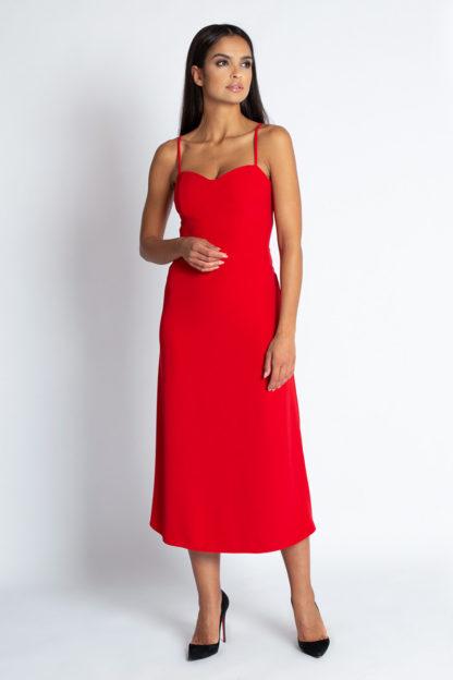 Sukienka midi na ramiączkach czerwona