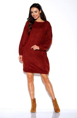 Luźna swetrowa sukienka miedziany