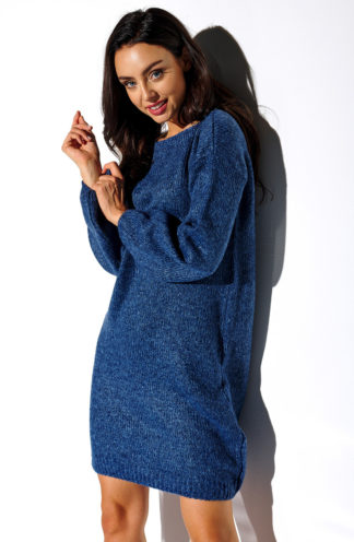 uźna swetrowa sukienka niebieska