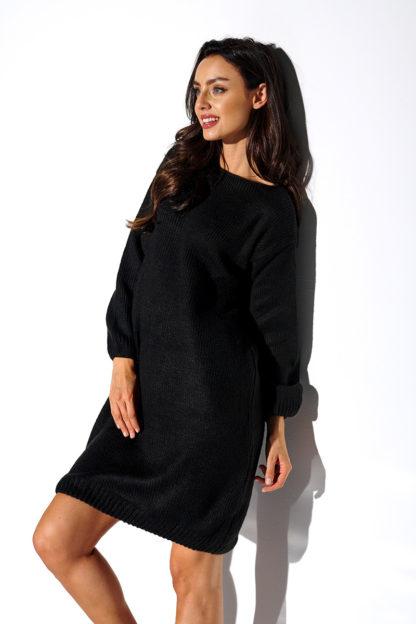 Luźna swetrowa sukienka czarna