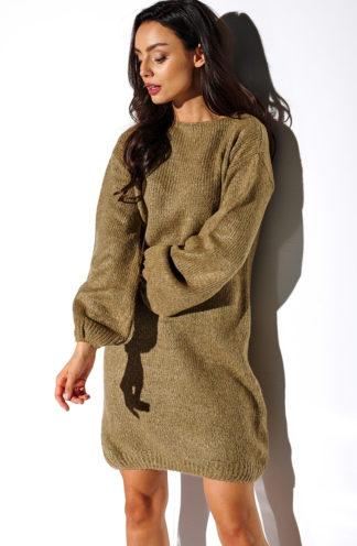 Luźna swetrowa sukienka brąz