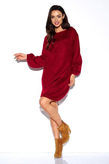 Luźna swetrowa sukienka bordowa
