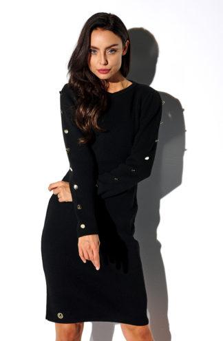 Dopasowana sweterkowa sukienka czarna