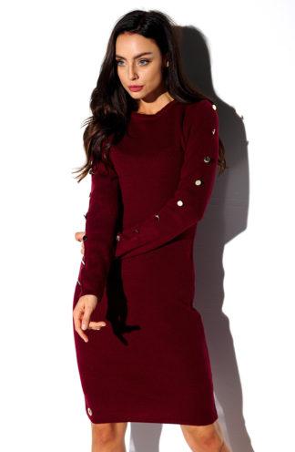 Sweterkowa sukienka z rękawami bordowa