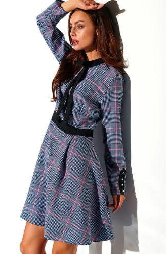 Sukienka z wiązaniem w kratę szara