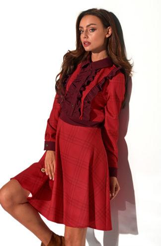 Sukienka z żabotem w kratę czerwona