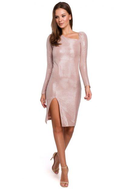 Sukienka z bufiastymi rękawami różowa