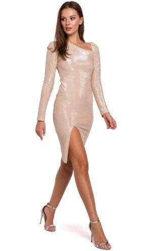 Sukienka z bufiastymi rękawami beżowa
