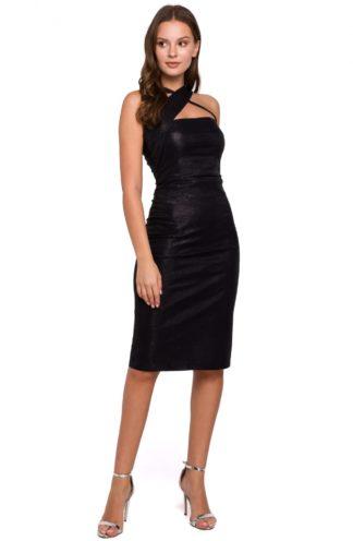Błyszcząca sukienka bez rękawów czarna