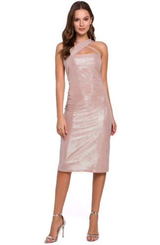 Błyszcząca sukienka bez rękawów różowa