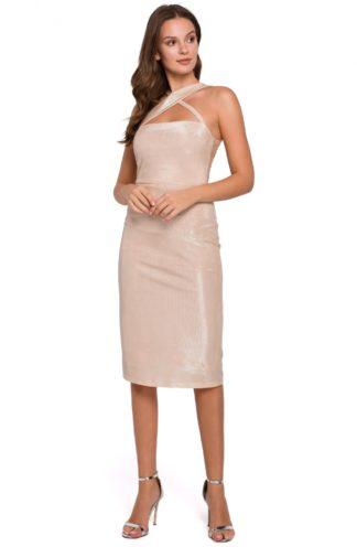 Błyszcząca sukienka bez rękawów beżowa