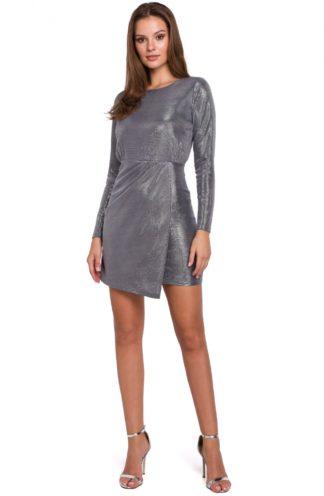 Błyszcząca sukienka mini szara