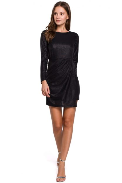 Błyszcząca sukienka mini czarna