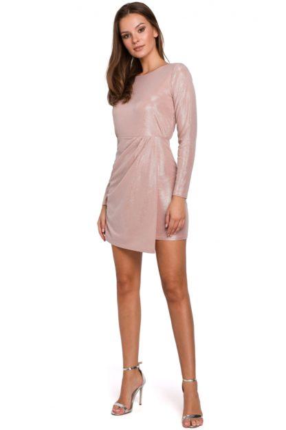 Błyszcząca sukienka mini różowa
