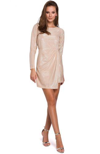 Błyszcząca sukienka mini beżowa