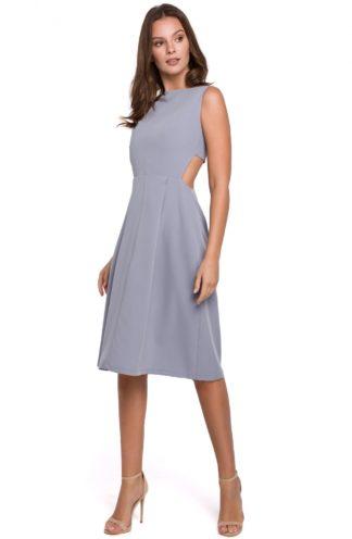 Sukienka midi z wyciętymi plecami szara