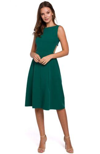 Sukienka midi z wyciętymi plecami zielona