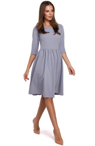 Rozkloszowana sukienka z rękawem szara