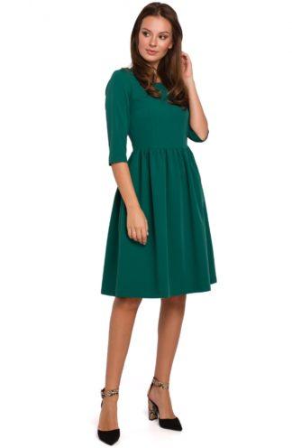 Rozkloszowana sukienka z rękawem zielona