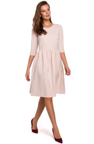 Rozkloszowana sukienka z rękawem beżowa