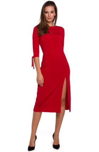 Sukienka midi z rozcięciem czerwona