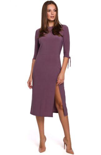 Sukienka midi z rozcięciem fioletowa