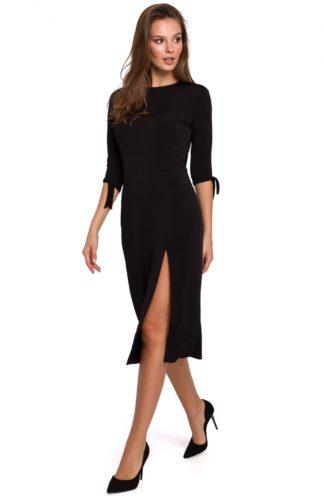 Sukienka midi z rozcięciem czarna