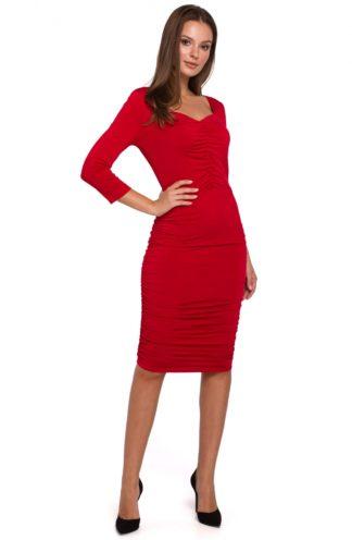Ołówkowa sukienka z marszczeniem czerwona
